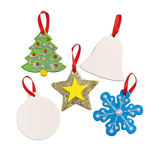 Baker Ross EF925 Festive Ceramic Decorations-Pack of 5, Christmas Crafts for Kids to Deco, Assorted