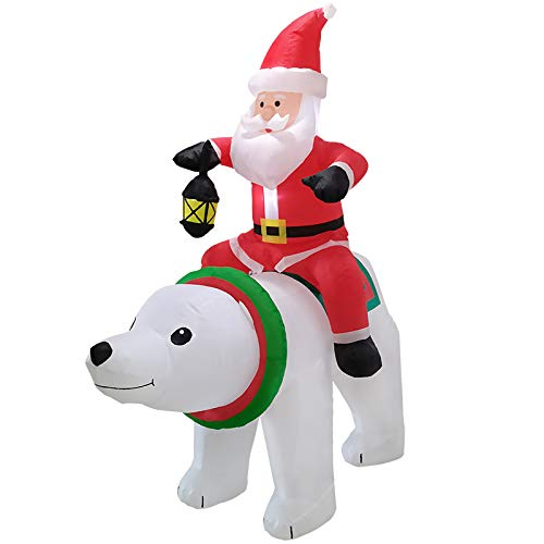 Christmas Outdoor Inflatable Decoration Santa Claus Rides A White Bear/Santa Claus Climbs Tree Suitable for Outdoor Venue Decoration Props