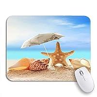ROSECNY 可愛いマウスパッド ノートブックマウスマット用ノンスリップゴムバッキングコンピューターマウスパッドでのブルーザビーチとパラソルシーシェルズヒトデサンディ