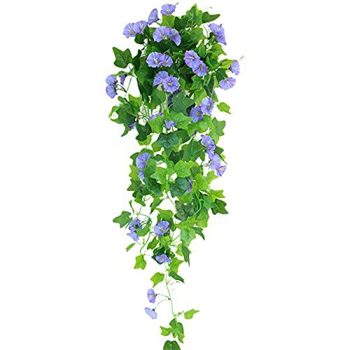 CJFael Flores artificiales falsas, realistas y resistentes al agua, para colgar en la ventana, jardín, boda, fiesta, color morado