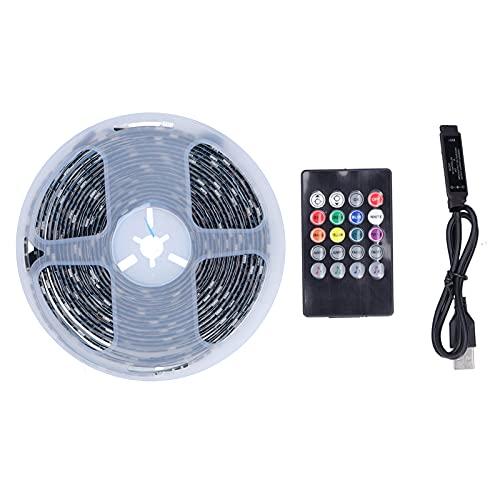 Cinta de luz LED Tira de Luces remotas 5050 Cuentas de lámpara 150 Luces Control de Sonido 20 Teclas USB Decoración Interior Colorida para el hogar