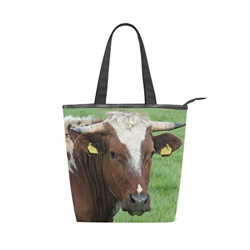 JinDoDo - Bolsa de lona con cremallera para mamífero, vaca, granja, animales, bolsa para mujer, para compras, viajes, playa, escuela