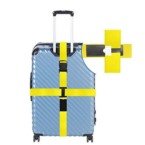 Luggage Straps,Heavy cross, luggage with suitcase, travel belt and accessories 1 set (Luggage belt 1 set=2pcs, not 4pcs) (yellow) …