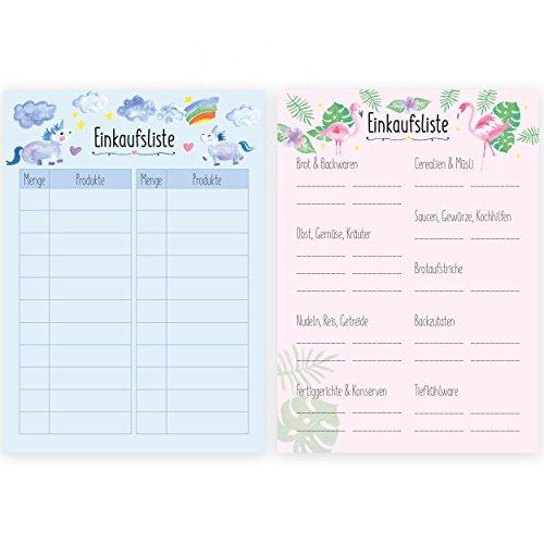 2er Set Einkaufszettel Block im handlichen DINA6 Format/Einkaufsliste, Wocheneinkauf, Shopping Liste/Einhorn und Flamingo Motiv
