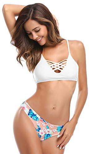 SHEKINI Damen Crossover Bikini Set Cut Out Gepolsterter Oberteil 2 Teiliger Mankini Low Waist Blumen Bikinihose Rückenfrei Bandeau Standbikini