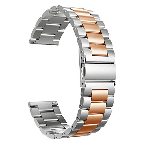 CMXXFA Correa de Metal para la Banda Solar LS05 Banda Smart Watch Correas de Pulsera para Xiaomi Solar LS05 LS02 Cinta de Malla de Correa (Color : Silver Rosegold, Size : Haylou Solar LS05)