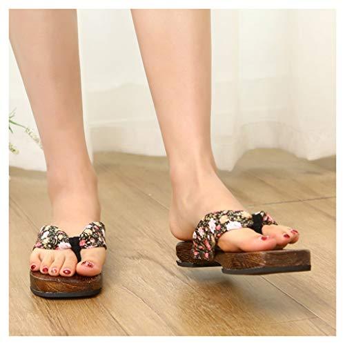 OFFA Pantuflas Pantuflas Kimono De Mujer Sandalias De Madera Japonesas Tradicionales, Zapatillas De Playa De Flip Flip De Madera Zapatos De Playa (Color : Black-A, Size : EUR 36-37)