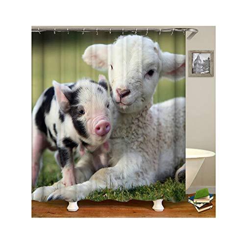 Aeici Duschvorhang 90X180 cm Schaf und Schwein Polyester Bad Vorhang 3D Weiß Duschvorhang für Badezimmer