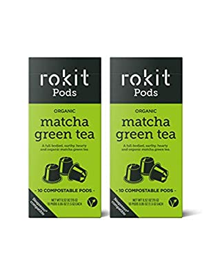 Rokit Pods | Japanese Matcha Green Herbal Tea Pods | Compostable Capsules | Nespresso Coffee Machine Compatible Pods | Instant Drink | No More Scooping, Whisking or Dust | 20 Pods Multipack Bundle