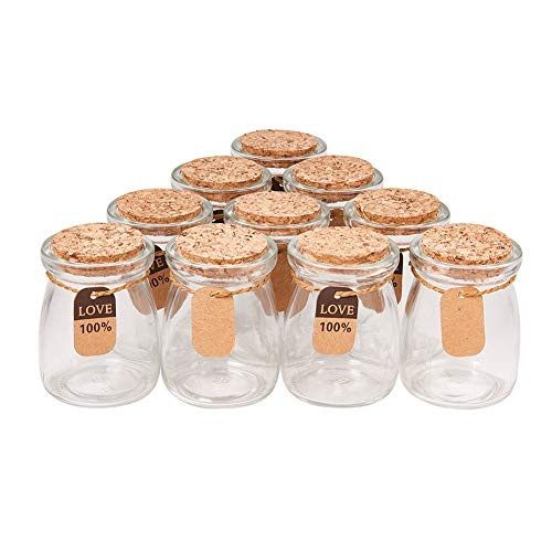 BENECREAT 10 Pack Glass Wedding Party Favor Jars with Cork Lids, Label Tags and String for Candy, Spices, Seashell Collection, Candle Making and More