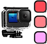 TELESIN Waterproof Case with 3-Pack Dive Filter for GoPro Hero 9 Black Supports 60M/196FT Underwater Scuba Snorkeling Deep Diving with Red Magenta Filter Bracket Screw Go Pro Accessories
