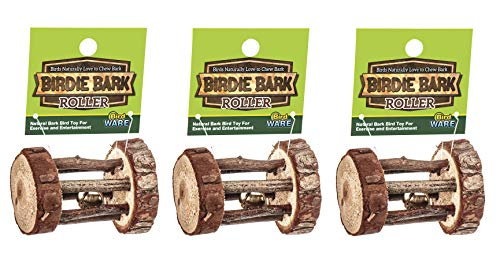 Ware Pet 3 Pack of Birdie Bark Roller Toys for Birds