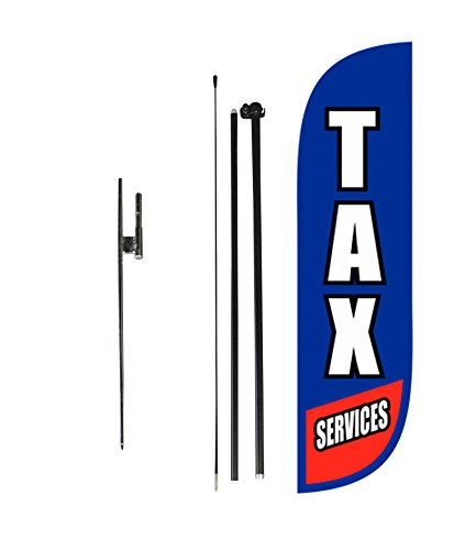 LookOurWay Tax Services Feather Flag Complete Set with Poles & Ground Spike, 5-Feet