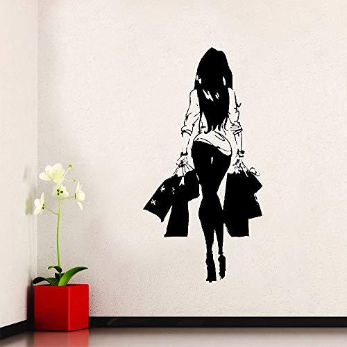 Kjlfow Moda Mujer de Compras de Vinilo Pegatinas de Pared Tienda de Ropa decoración de la Ventana Pegatinas decoración del Dormitorio del hogar Pintura 113x223 cm