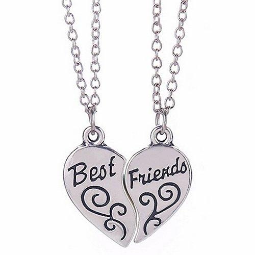 Bodhi2000 - Set di 2 collane con ciondolo a forma di cuore, in argento