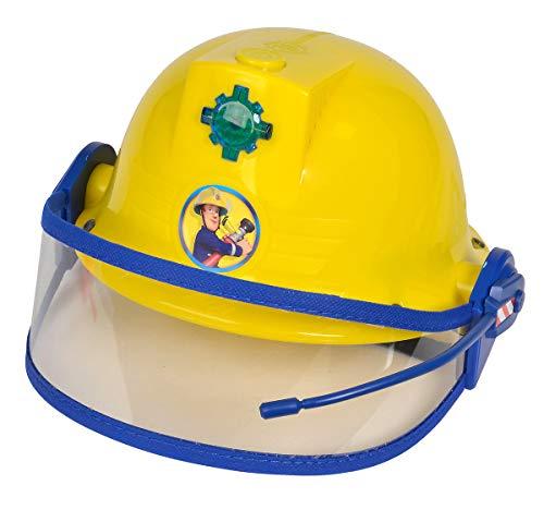 Simba 109252365 - Feuerwehrmann Sam Helm / Feuerwehrhelm mit Funktion/ gelb/ mit Licht und SirenenSound / Größeneinstellung möglich / D:23cm, für Kinder ab 3 Jahren