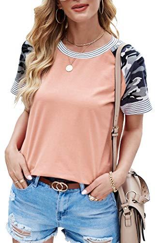 Odosalii Camiseta de manga larga para mujer, cuello redondo, elegante jersey de leopardo 1-pink camouflage XXL