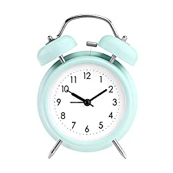 """PILIFE 5"""" Twin Bell Alarm Clock with Backlight, Loud Alarm to Wake You Up, Silent Working Perfect for Bedroom and Work(Green)"""