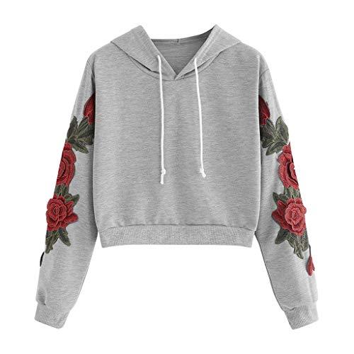 DEELIN Sweatshirt à Capuche Court à la Mode des Femmes imprimé Drapeau américain (Small, Gris&A)