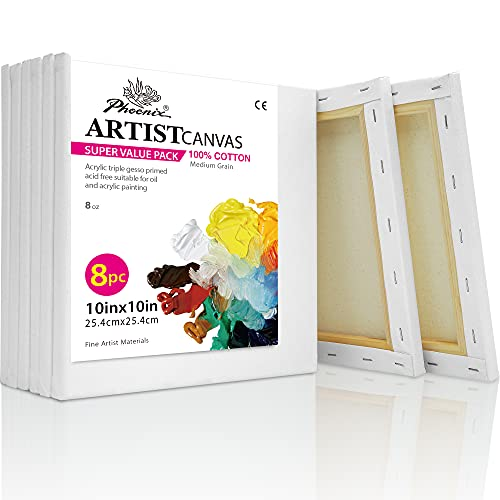 PHOENIX White Blank Cotton Stretched Canvas Artist Painting - 10x10 Inch / 8 Pack - 5/8 Inch Profile Triple Primed for Oil & Acrylic Paints