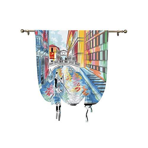 Cortina romana de Venecia, diseño colorido de un paisaje, el puente de los suspiros en Venecia, escena romántica artística, cortina opaca con aislamiento térmico, 76 x 107 cm, para sala de estar