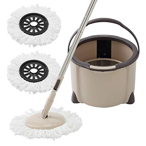 Eyliden Microfiber Mop Buckets System, 360 Spin Rapid Dehydration Dust Mop Buckets with 2 Mop Pads, Adjustable Handle, Dry and Wet Mops, Commercial & Home Mop and Bucket for Floor Cleaning (Brown)
