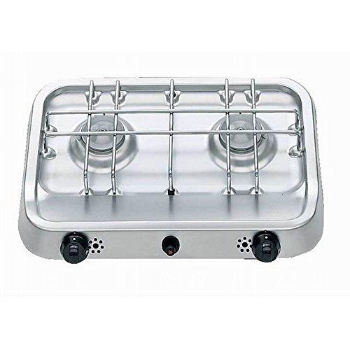 Smev PI2232 vrijstaande dubbele brander kookplaat (één grootte) (zilver/zwart)