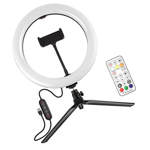 Hemobllo 2 en 1 LED Selfie Ring luz Telefonhalter belleza Make-Up lámpara Stativ con base para Video Make-Up Live-Stream Fotografía 10 aduanas