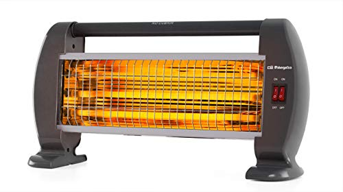 Orbegozo BP 0206 - Estufa de cuarzo, 3 niveles de potencia, sistema antivuelco, calor instantáneo, asa de transporte, 1200 W