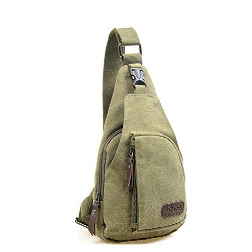 Museya Sport Outdoor Casual tela Cool uomo sbilanciare zaino borsa tracolla Sling Crossbody petto Bag - taglia L (verde militare)