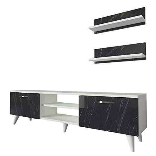 Alphamoebel 4692 Geacles Wohnwand Anbauwand Schrankwand Mediawand, Weiß Grau, modern, 2 Hängeregale, Designer Stück für Wohnzimmer, viel Stauraum, 150 x 45,5 x 30 cm