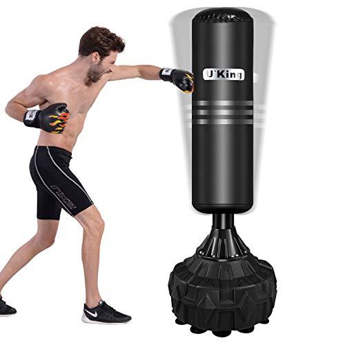 AIBOOSTPRO Boxsack Boxsockel Säcke Freistehender Boxsack für Erwachsene Leder, Hochleistungs-Boxsackständer mit Saugnapfboden Kann mit Sand und Wasser gefüllt Werden(Schwarz)