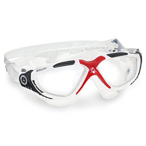 Aqua Sphere Vista Swim Mask Goggles, Clear Lens, White/Red