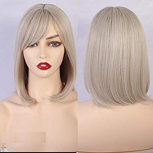 Synthetic Medium Length Straight Bob Ombre Green Wig With Bangs for Black/White Women Cosplay Party Hair Wigs-2