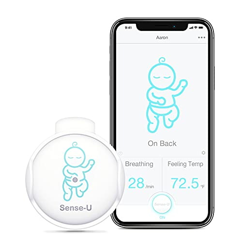 Sense-U Baby Breathing Monitor - HSA FSA Approved - Tracks Baby s Breathing Movement, Feeling Temperature and Stomach Sleeping for Baby Safety with Audio Alarm on Smartphone (Green)