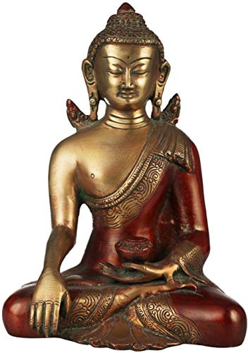 Exotic India Solemn Shakyamuni, The Momentous Bhumisparsha Mudra - Brass Statue - Color Red Gold Color