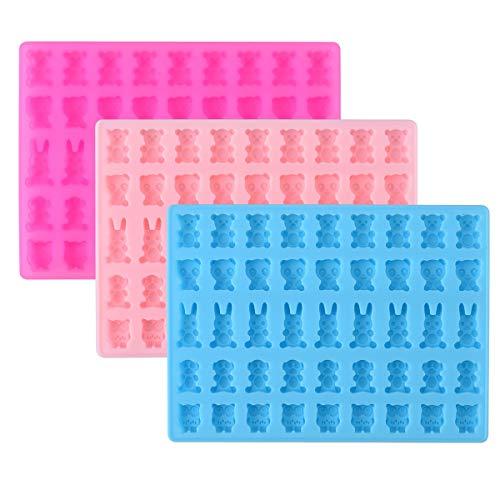 Queta 3 Stück Silikon Gummibärchen, 45 Zellen Süß Tierische Silikonform für Cupcakes, Süßigkeiten, Gelee und Schokolade, Antihaftbeschichtet, Rezept ohne BPA