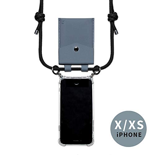 phonecover lover für iPhone X/XS - Handy-Kette für Smartphones mit Tasche als Kartenetui für Kleingeld - Stabile Handyhülle zum Umhängen für Dein iPhone - Smartphone Necklace (graue Tasche)