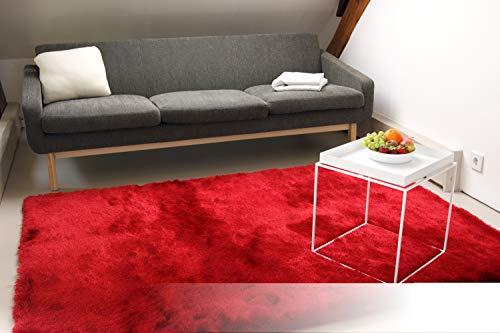 Exklusiver Hochflor Shaggy Teppich Satin rot 80x150 cm - edler, seidig glänzender Teppich