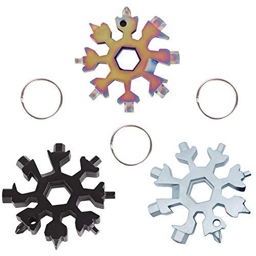 18-in-1 Multi-Tool in Acciaio Inox, Mini Portable Snowflake Multi Tool, cacciavite Bottle Opener Keychain Anti-Lost Incredible Tool Regalo di Natale -3 PCS