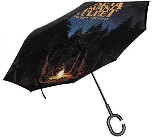 Greta-Van-Fleet 'mit Doppelschicht-Umkehrschirm Cars Reverse Umbrella Lazy Gift Winddichter, UV-beständiger Outdoor-Reiseschirm