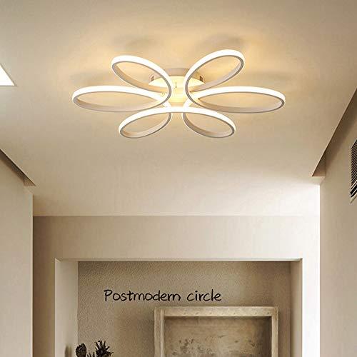 Wylolik Luces de Techo LED Modernas for Sala de Estar Dormitorio 72W 90W 120W Cuerpo de Aluminio Lámpara de Techo Interior Montaje Empotrado Forma de Flor Blanca Pantalla de Silicona Lámpara de araña