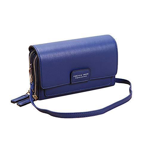 LPOQW Bolsos para mujer Casual Cross Body Bag Multi-Card Position Single Shoulder Bag Long Wallet PU Leather Zipper Compartimiento Wallet, Azul