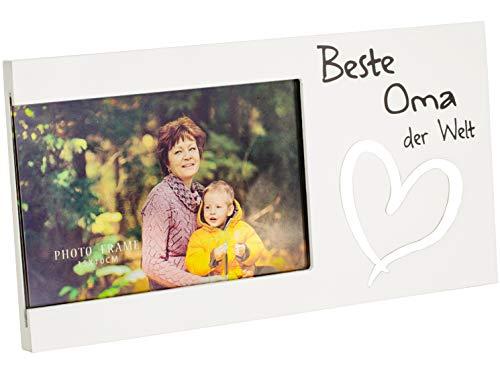 Brandsseller Bilderrahmen Fotorahmen - Beste Oma der Welt - mit Spiegelherz 25x13x1,5 cm Matt-Weiß