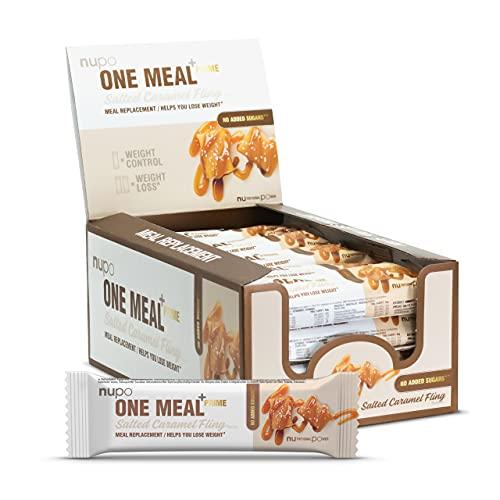 NUPO One Meal +Prime Bar – Salted Caramel Fling I Luxus Mahlzeitersatz-Riegel zum Abnehmen I 20 x 64g I Ohne Zuckerzusatz & proteinreich I Enthält Nährstoffe, Vitamine und Mineralien