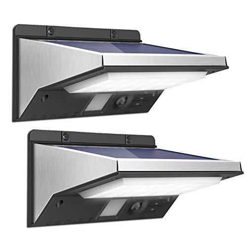 OUSFOT Luz Solar LED Exterior Foco Solar con Sensor de Movimiento Impermeable 3 Modos Gran Ángulo 120º de Iluminación 2200mAh Lámparas Solares para Jardín Muros Exteriores (2 pack)