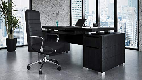 Ford Executive Modern Desk with Filing Cabinets - Black Oak...