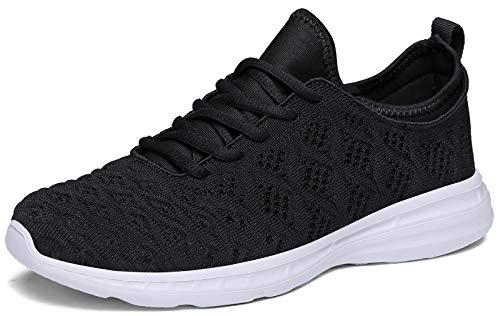 Joomra Women Gym Shoes Black Comfortable Girls Teens College Running Walking Standing for Ladies Lightweight Sport Fashion Tennis Sneakers Size 7