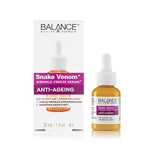 Balance Active Formula Snake Venom Wrinkle Freeze Serum (30 ml) - Lines and Wrinkles Appear Reduced; Smoothes Crow's Feet; Dermatologically Tested; Cruelty Free
