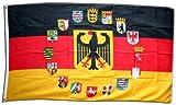 Flagge Deutschland mit Adler und Wappen der 16 Bundesländer - 90 x 150 cm